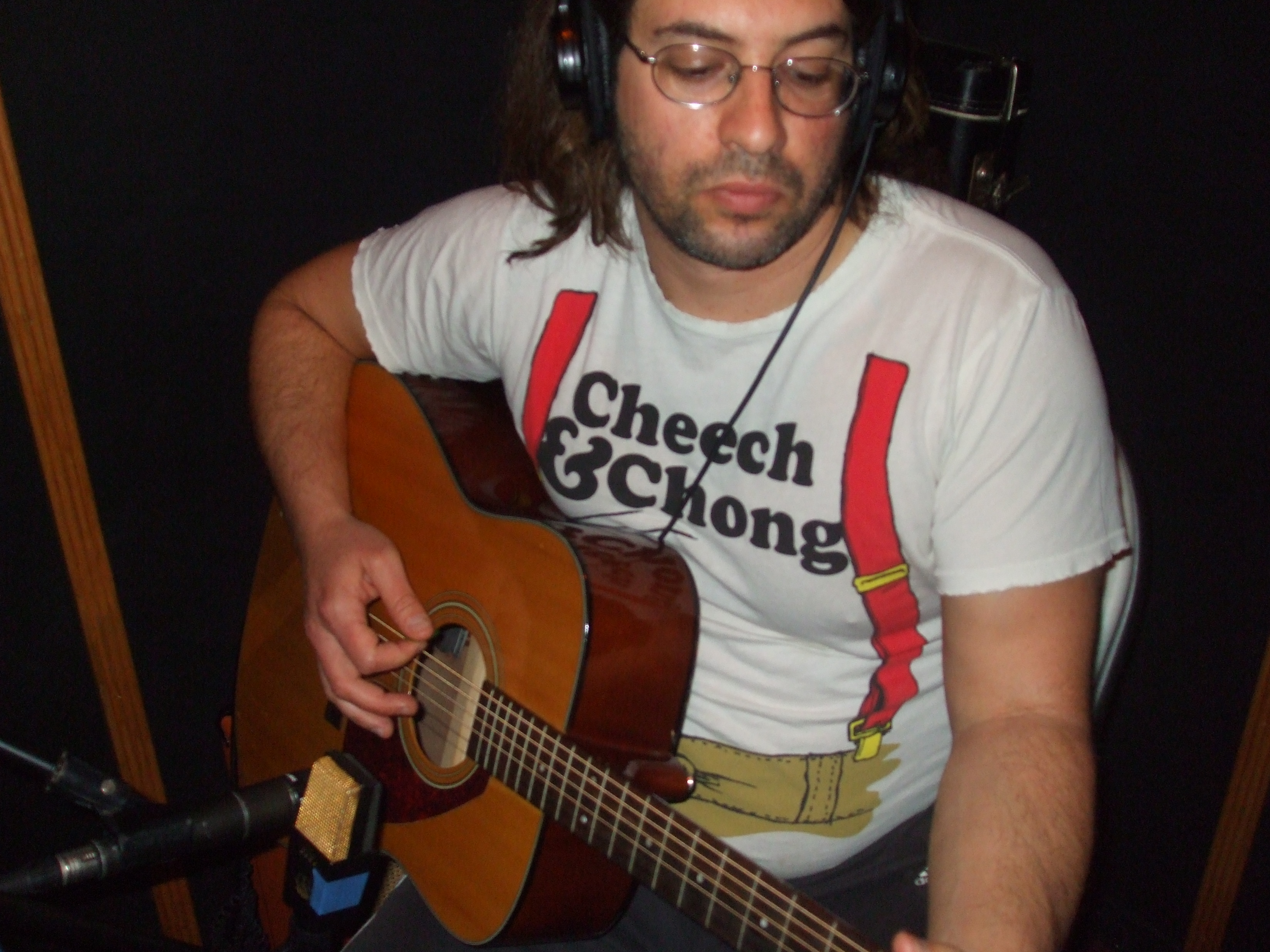 Troy Spiropoulos tracking acoustic guitar for the Vol.2 - The Scattering sessions (6-30-08)   photo by Burt Malcuit