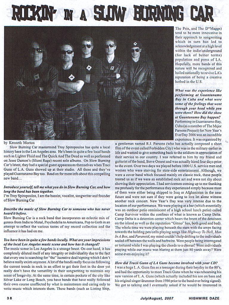 Interview Highwire Daze Magazine July/August 2007