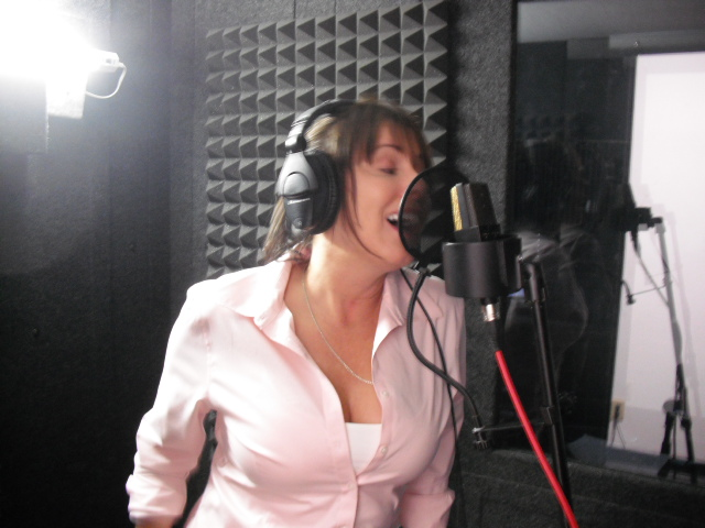 """Gina Spiropoulos tracking vocals for """"Day Brightener"""" from the Assumption sessions  (7-15-12)  photo by Troy Spiropoulos"""