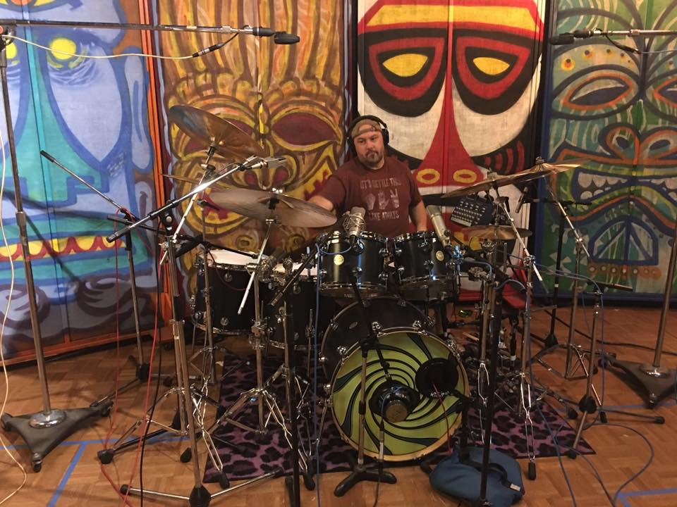 Adam Idell tracking drums on the Defection sessions  (11-21-15)    photo by Troy Spropoulos