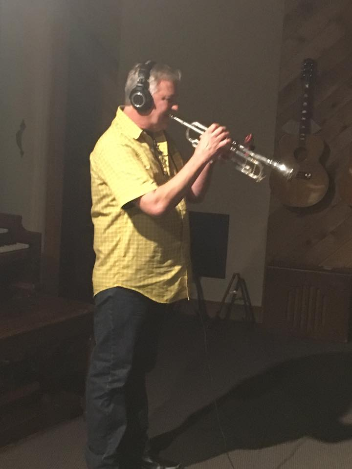 "Guest musician John Vandenberg tracking trumpet on ""Clouds"" from the Defection sessions (6-6-17)   photo by Troy Spiropoulos"