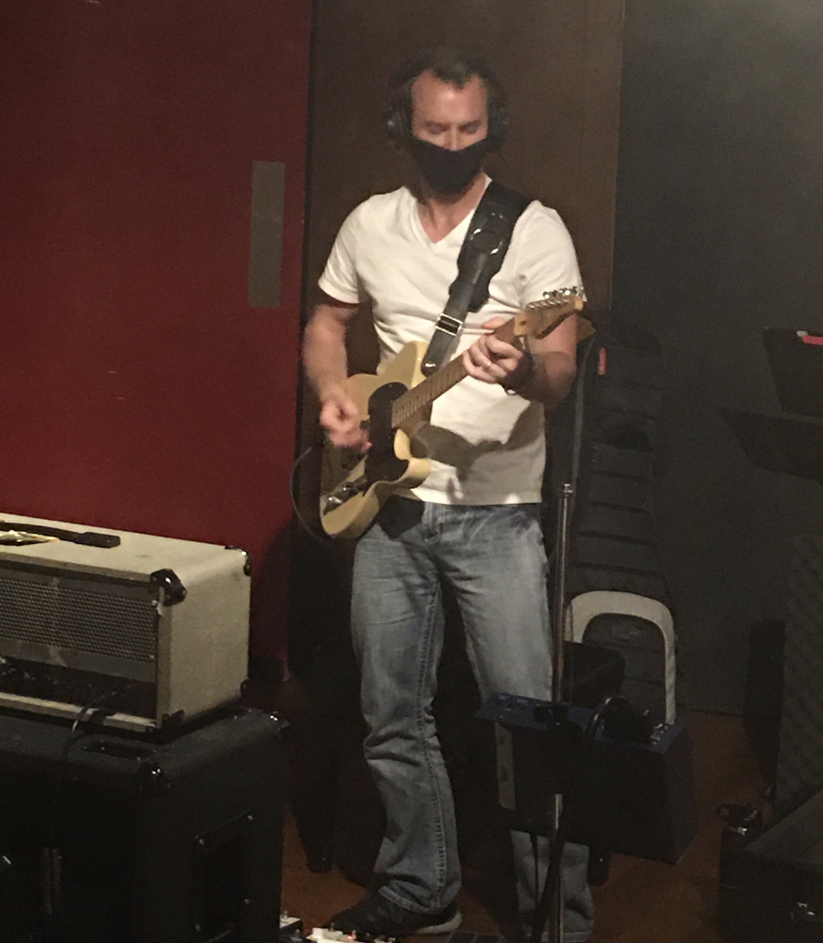 "Aaron Kusterer tracking lead guitar on ""Public Cynic"" from the Projection sessions    (4-19-2020)  photo by Troy Spiropoulos"
