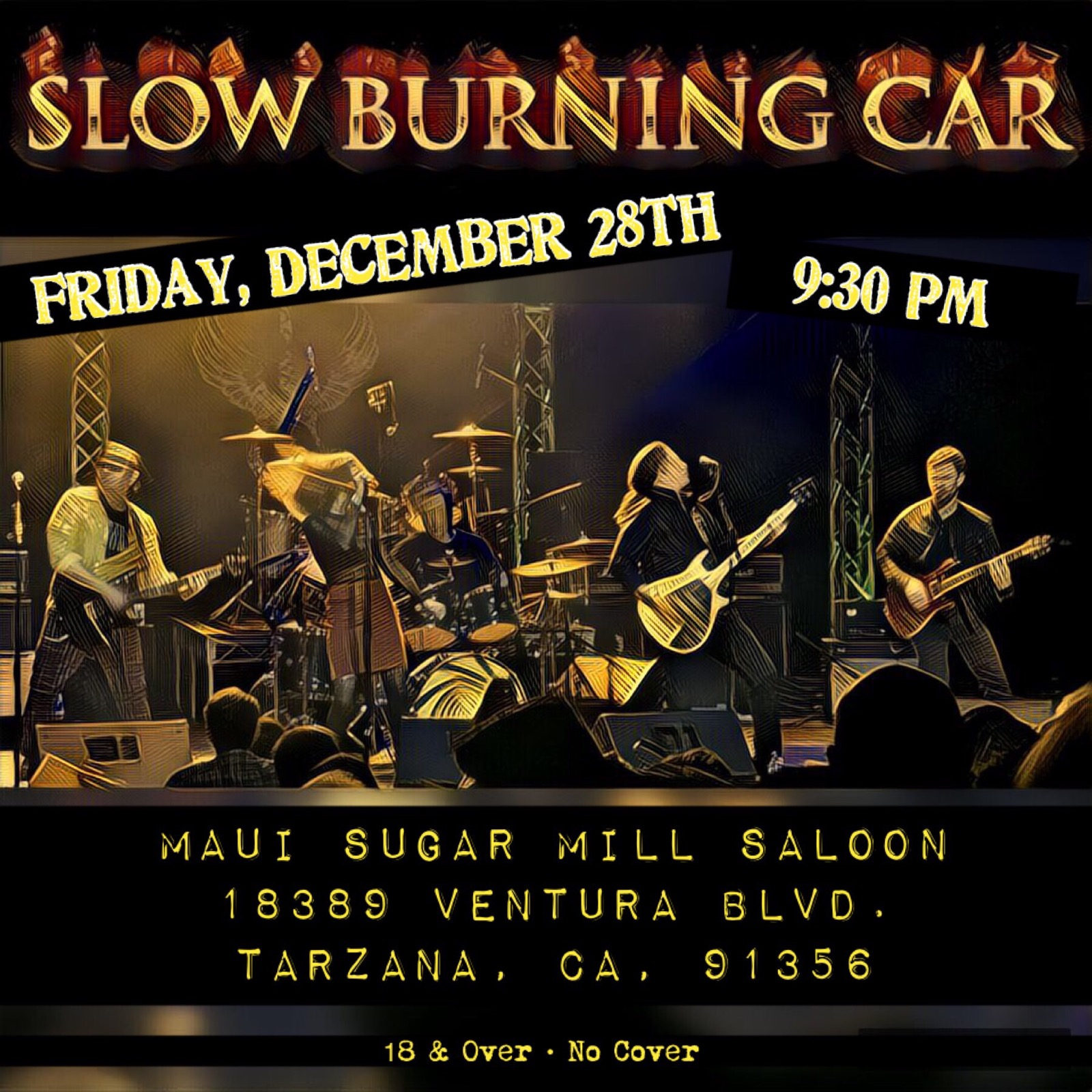 Promo Flier (December 2018)  Maui Sugarmill Saloon in Tarzana, CA   created by Michelle Idell