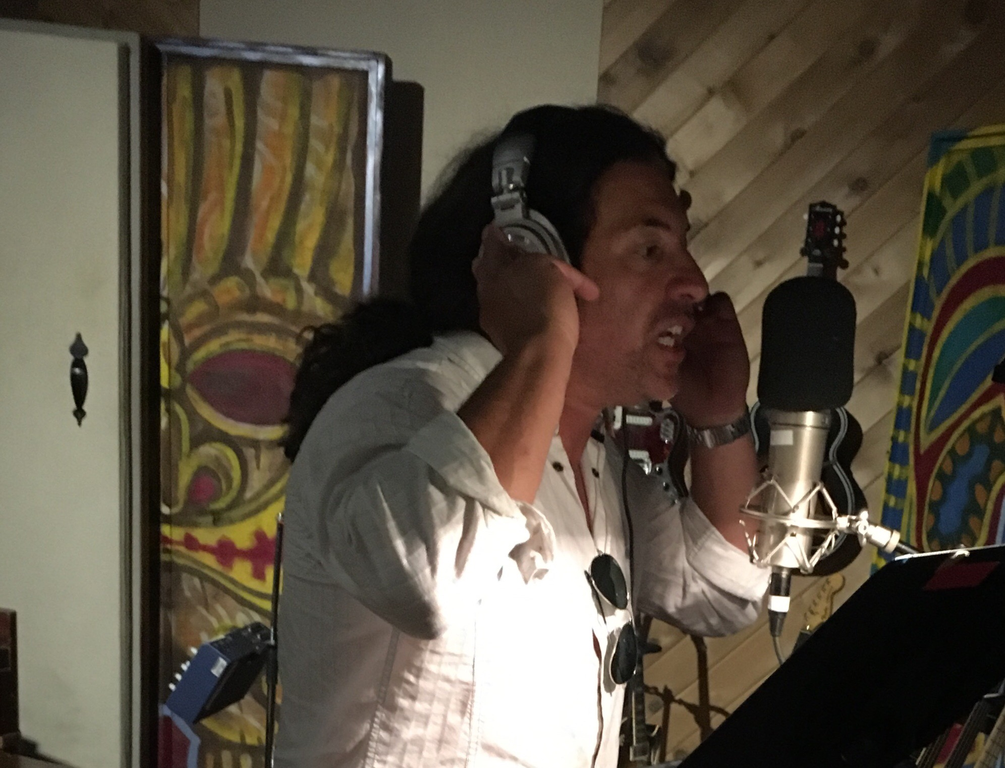 Troy Spiropoulos tracking vocals on the Projection album sessions (8-1-19)  photo by Steve Ornest