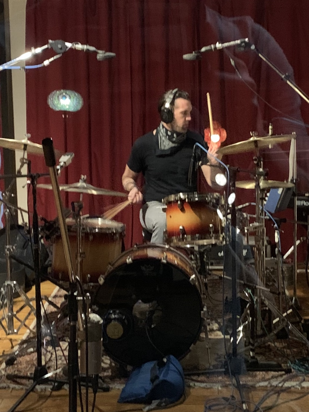 "Zak  St.John  tracking drums to ""Public Cynic"" from the Projection album sessions (4-9-2020)  photo by Troy Spiropoulos"