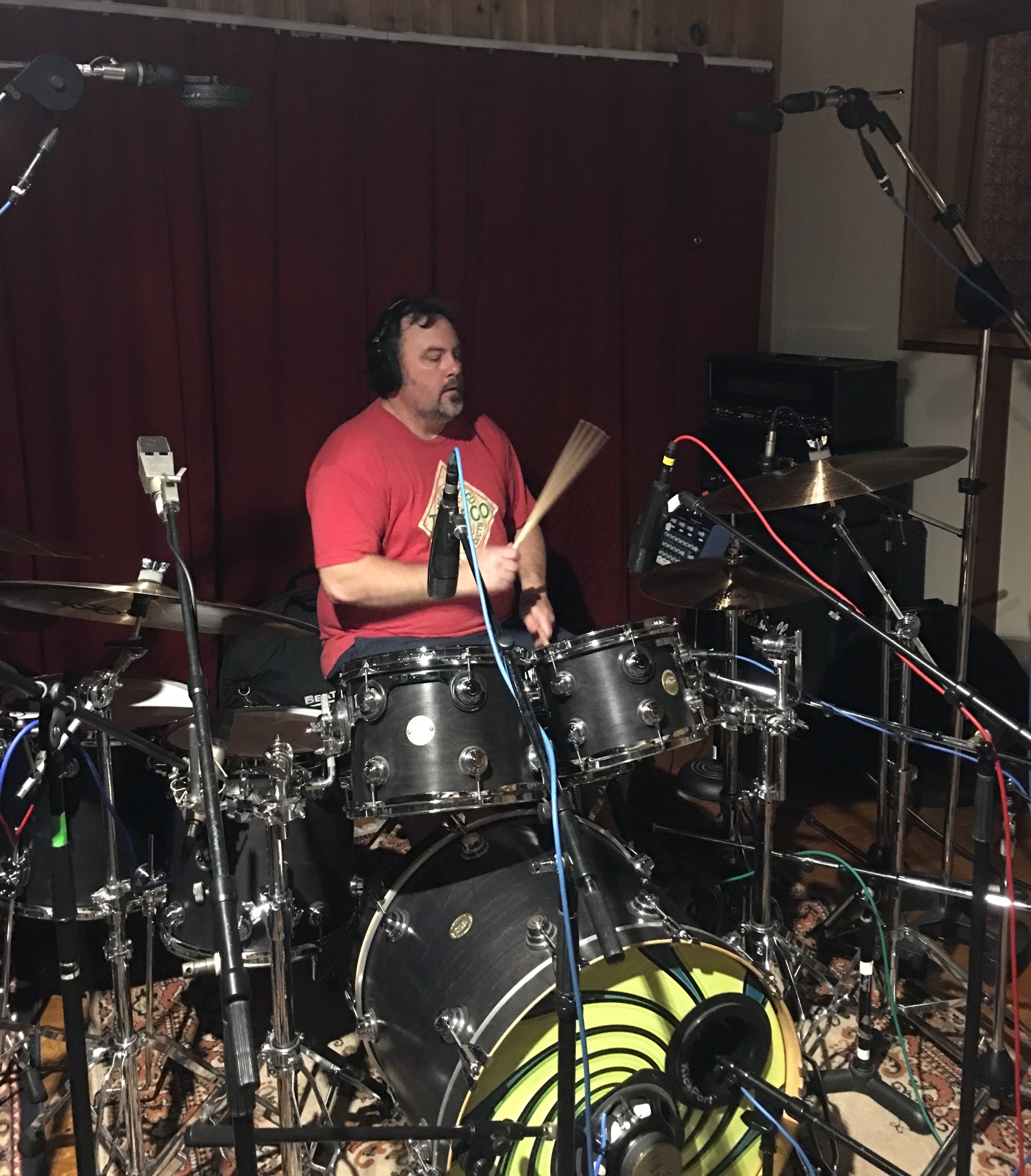 Adam Idell tracking drums for Defection album sessions (5-18-19)  photo by Steve Ornest